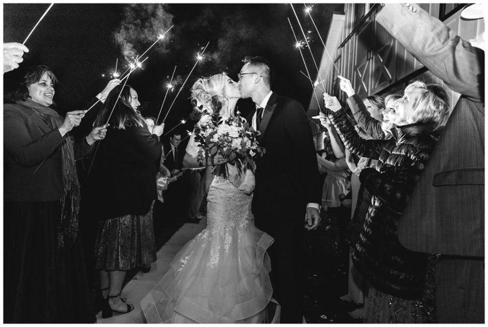 Sparkler. Wedding exit.