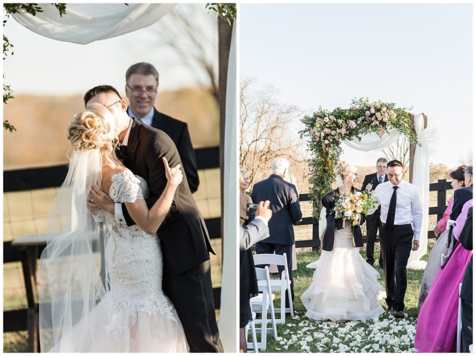 First kiss. The Barn at Willow Brook. Rebecca Dotson Photography.