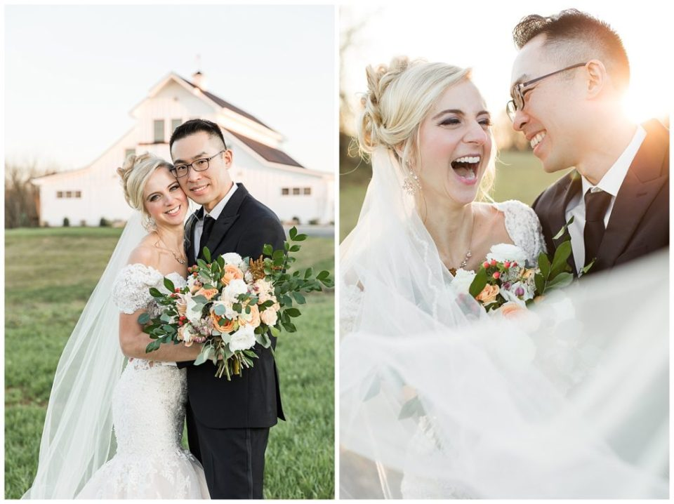 Bride and groom. Laughing. Happy. Golden hour. The Barn at Willow Brook. Virginia Wedding.