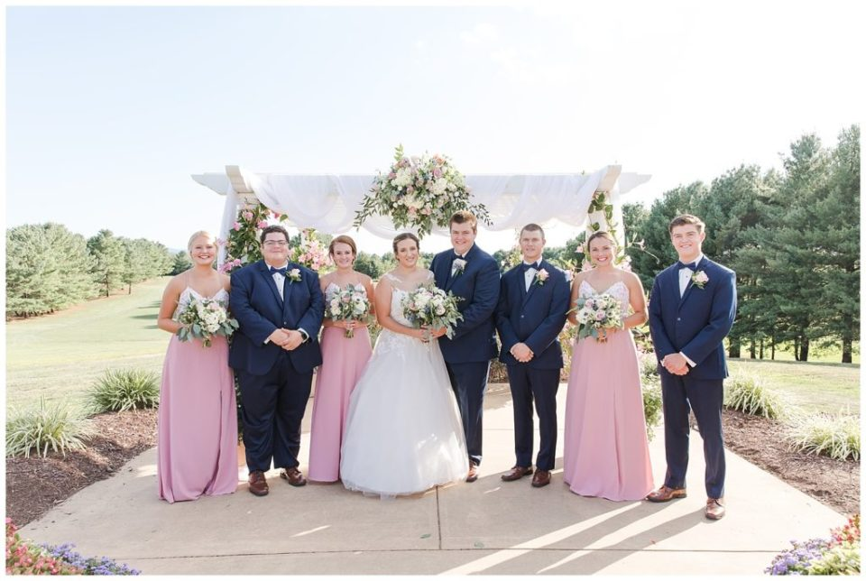 Wedding Party. Arbor. Florals. Blush and navy wedding.