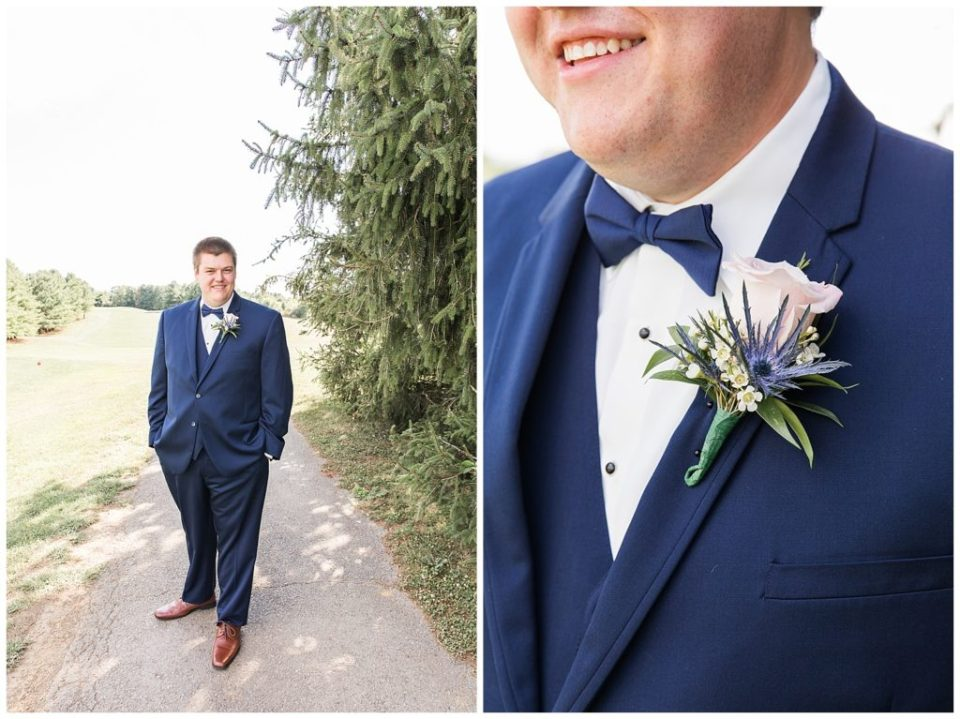 Groom. Boutonniere. Navy Blue. Pink.