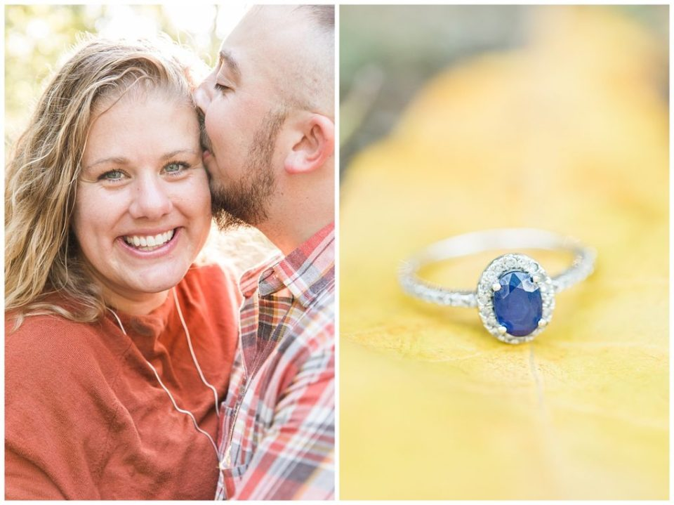 Virginia fall engagement. Rebecca Dotson Photography. Blue sapphire engagement ring.