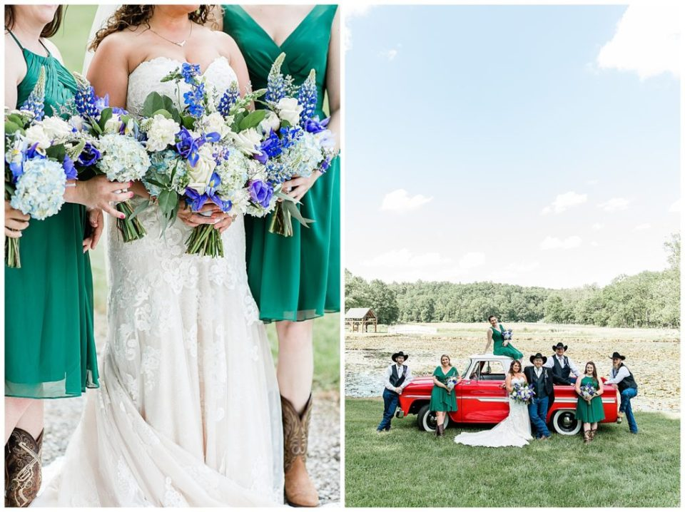 Bridal Party. Red Truck. Purple Flowers. Green dresses.