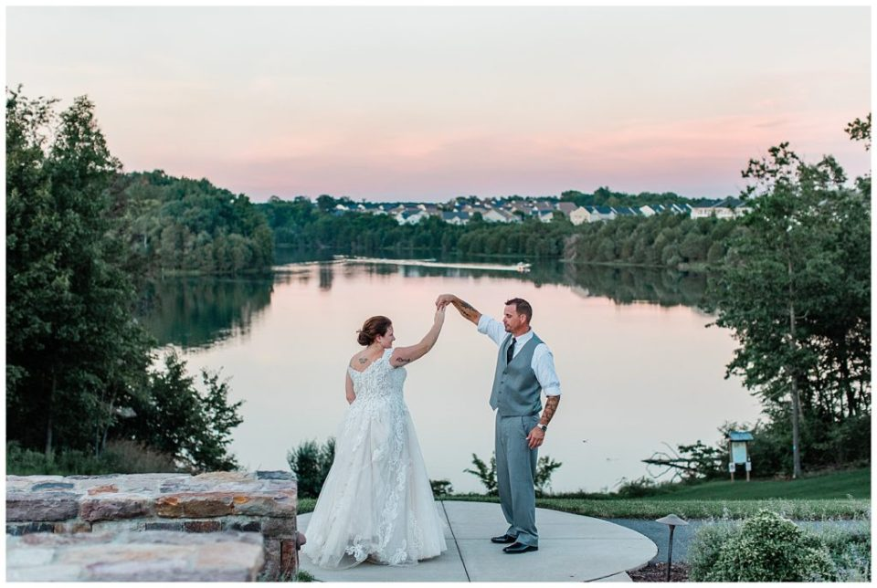 Sunset portraits. Bride and groom.