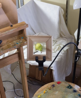 """Since I'm trying out some boards instead of using rolled linen, the size is already fixed which means that I have to plan for some cropping, and I need to get it right before I get into the painting. Many decisions have to be made about what will happen at the edge of the painting before I begin. This is a makeshift """"viewfinder"""" made from some stretcher bars. A real one is in the mail. This helps me to sketch out the objects to be sure I have drawn everything the right size and that it lines up with the outside edges of the board the way I want."""
