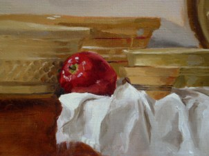 With all of this yellow, it was important to seek out those colors that one might not expect to find, and perhaps accentuate them a bit to create some interest and contrast. I punched in some pure red cadmium in the apples, added some cool blue splashes and deep reds to the yellowware's shadow side, and allowed some of my burnt sienna under drawing to show through in select areas.
