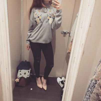 Pale Grey Funnel Neck Floral Bird Embroidered Jumper - £29.99 - http://www.newlook.com/shop/womens/hoodies-and-sweatshirts/pale-grey-funnel-neck-floral-bird-embroidered-jumper_516142502?productFind=search