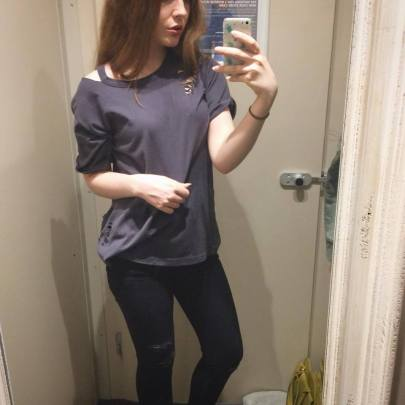 Dark Grey Ripped Cut Out Shoulder T-Shirt - £11.99 - http://www.newlook.com/shop/womens/tops/mid-pink-ripped-cut-out-shoulder-t-shirt_511743574?productFind=search