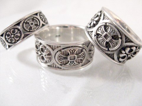 Sterling Silver Alisee Patee and Fleur de lis cross bands 11mm and 8mm