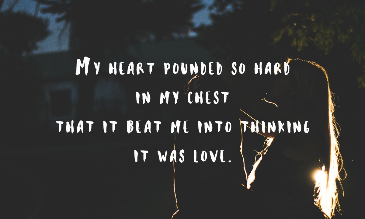 """Quote graphic for my WHITE RABBIT short story, featuring a suburb neighbourhood at night and the quote: """"My heart pounded so hard in my chest that it beat me into thinking it was love."""""""