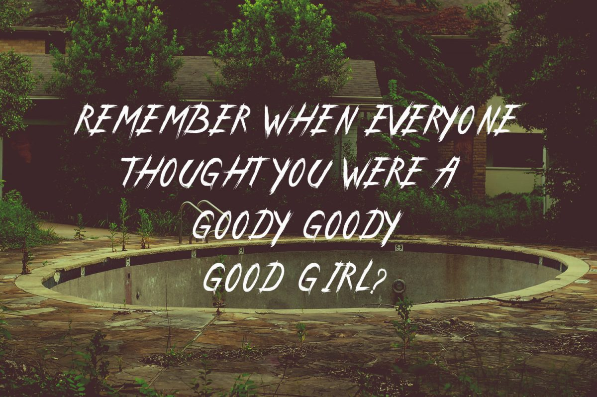 """Quote graphic for my WHITE RABBIT short story, featuring a suburb neighbourhood at night and the quote: """"Remember when everyone thought you were a goody goody good girl?"""""""