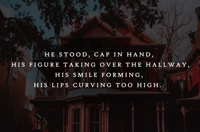 "Preview graphic for ""THE RED HOUSE"" by Rebecca Jones-Howe with the quote: ""He stood, cap in hand, his figure taking over the hallway, his smile forming, his lips curving too high."""