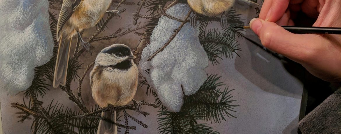 Chickadees in Snow Work in Progress, Watercolor, Rebecca Latham