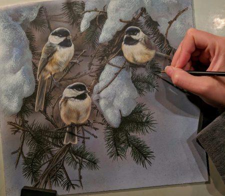 Chickadees in Snow Work in Progress, Watercolor, Rebecca Latham