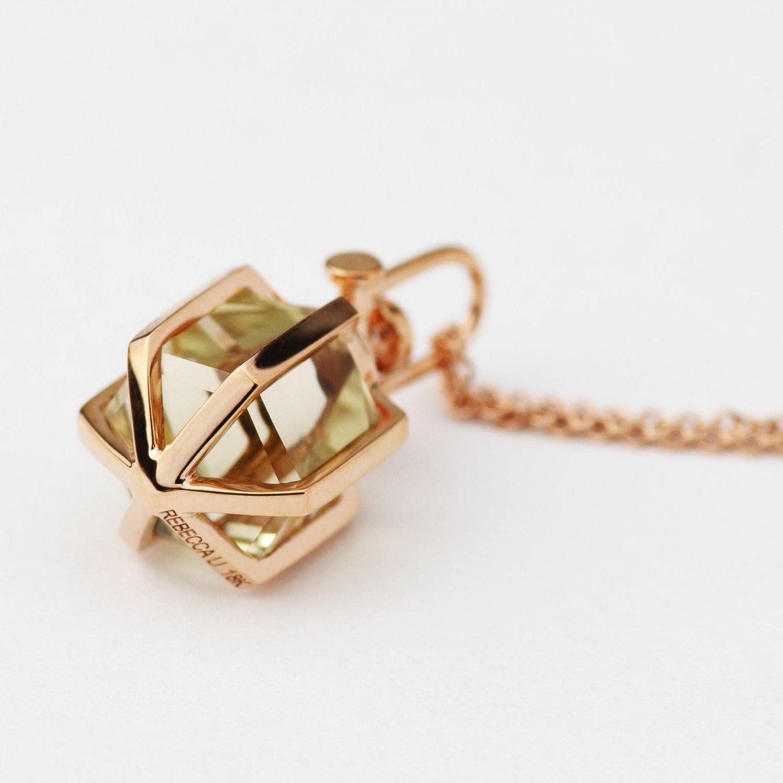 Rebecca Li 18k Rose Gold Mini Six Senses Talisman Pendant with Lemon Citrine