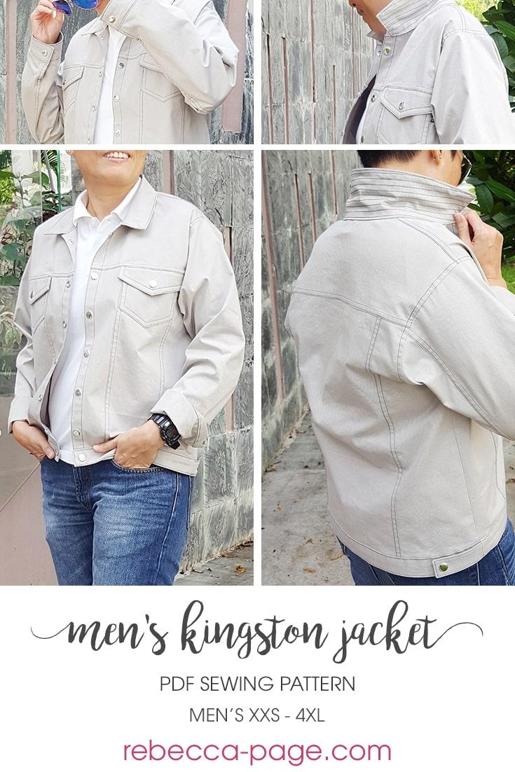 Men Jacket Pattern : jacket, pattern, Denim, Jacket, Pattern, Kingston, Rebecca
