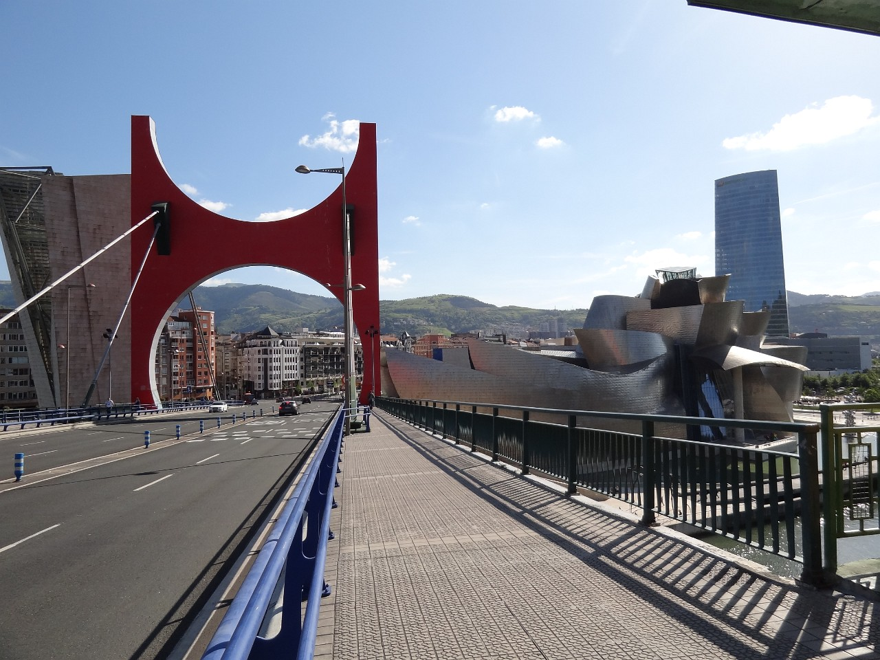 Bilbao Guggenheim and the Red Arc of La Salve Bridge