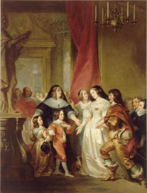 Gaston_de_France_presents_his_sister_Queen_Henrietta_Maria_of_England_to_the_infant_Louis_XIV,_his_mother_and_brother,_Decaisne_Henri.jpg