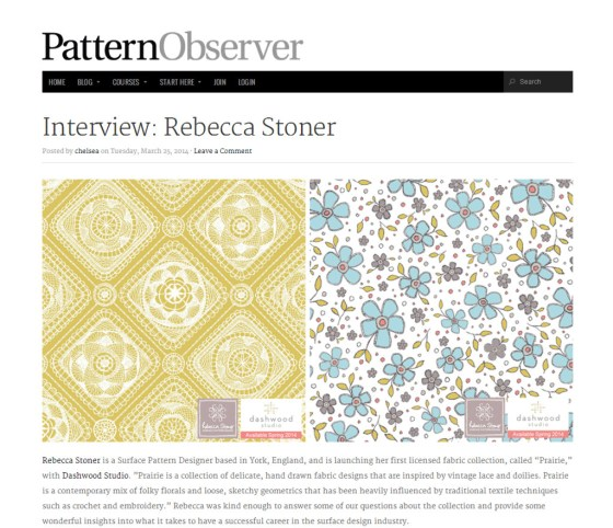 Pattern Observer Interview - Rebecca Stoner www.rebeccastoner.co.uk