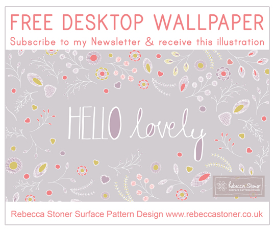 "Free Desktop Wallpaper ""Hello Lovely"" by  Rebecca Stoner www.rebeccastoner.co.uk"