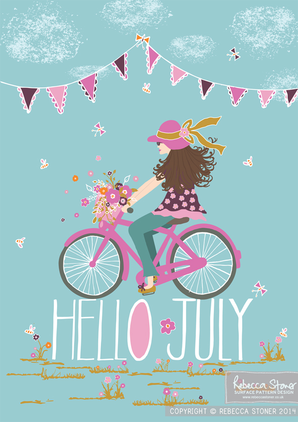 """Hello July - Bicycle"" by Rebecca Stoner www.rebeccastoner.co.uk"