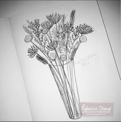 Wedding Posy drawing by Rebecca Stoner as part of #artdaily2015 project on Instagram www.rebeccastoner.co.uk
