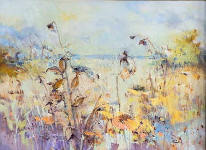 "SOLD ""Rustling Prairie"", 24""x20"", oil on canvas"