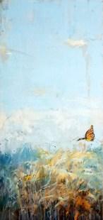 """SOLD """"Prairie Monarch"""",  12""""x30"""", oil & cold wax"""