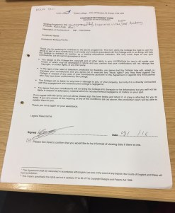 Kola Oni's consent form for filming