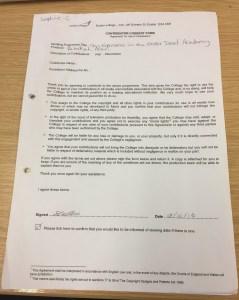 Sophie Cockram's consent form for filming