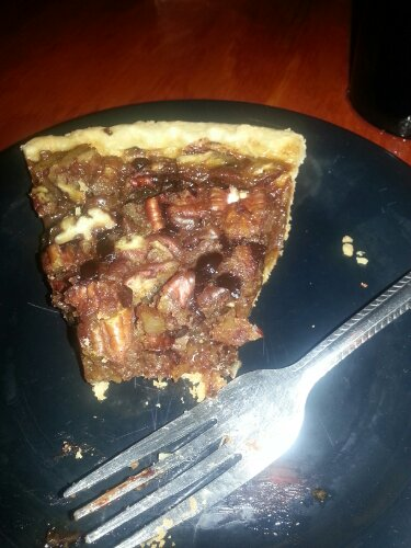 Chocolate pecan pie with a handmade crust.