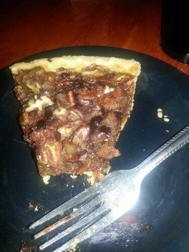 Chocolate pecan pie with a handmade crust.