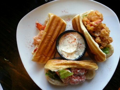 The Lobster Trio is served with house made tarter sauce.