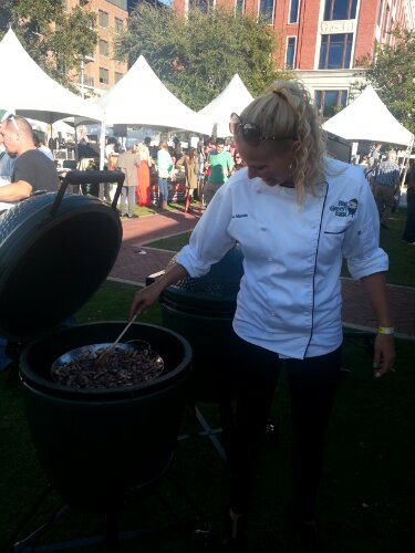 Linkie Marais cooks mushrooms and onions in the Big Green Egg for her Lamb Ragu dish.