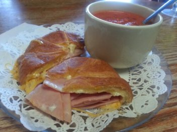 Hot Ham & Cheese Croissant with Roasted Red Pepper Soup