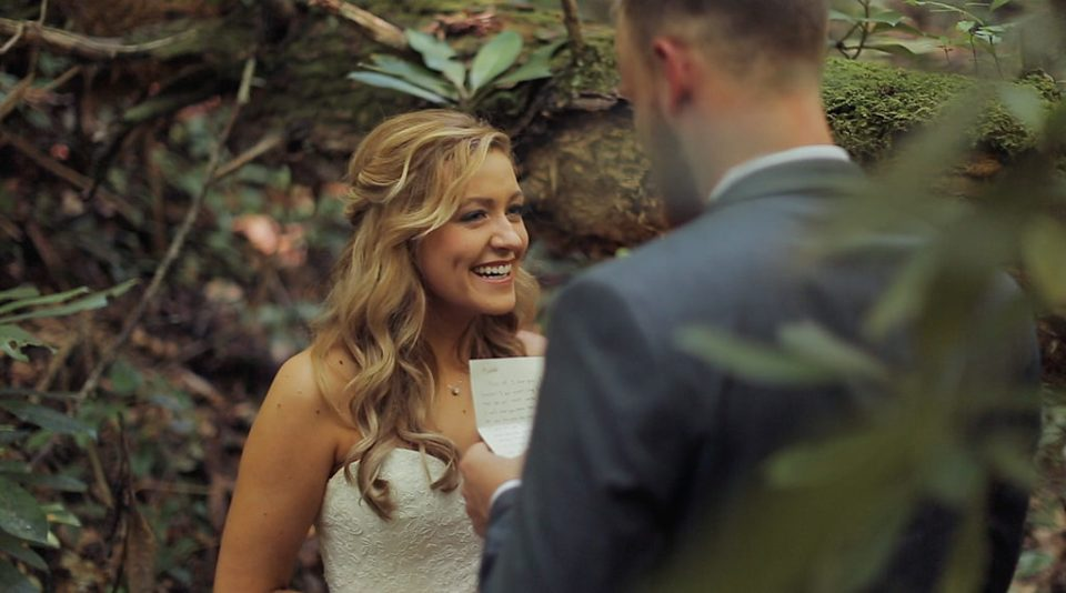 Wedding film of bride and groom reading vows to one another