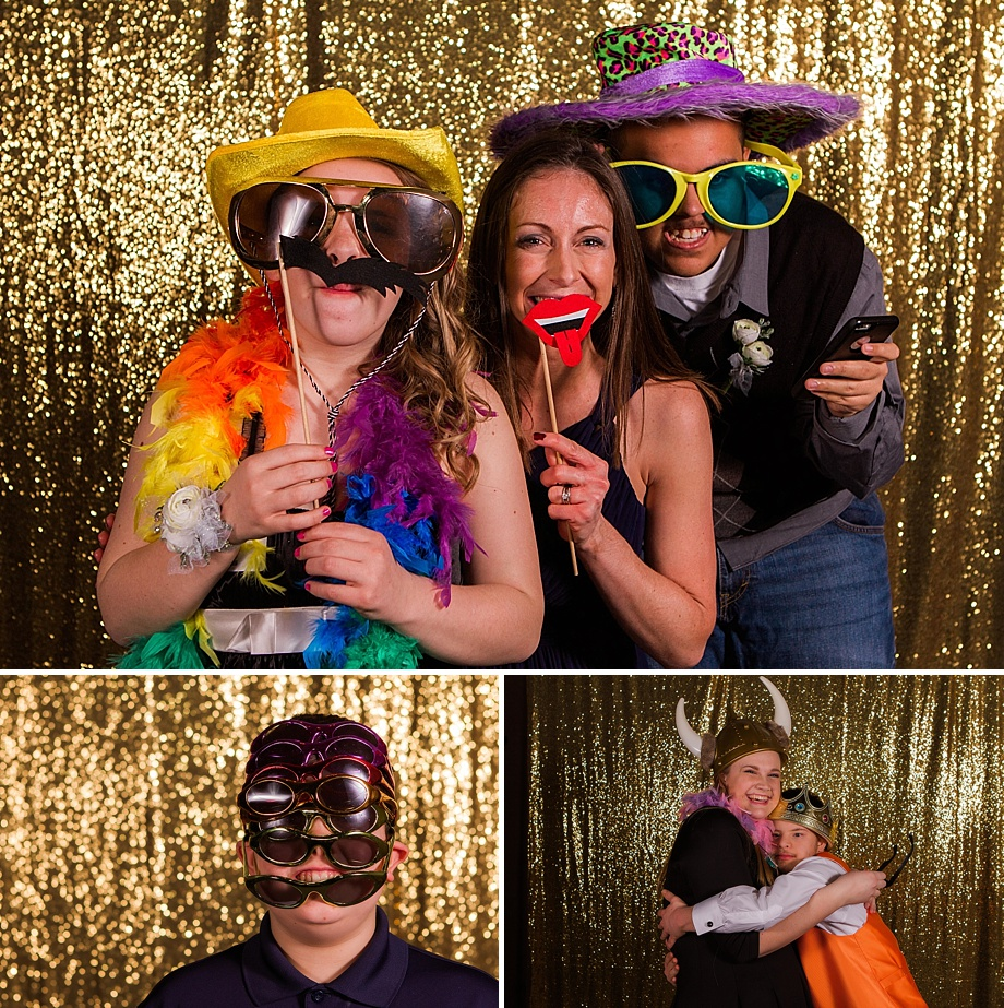prom participants in photo booth