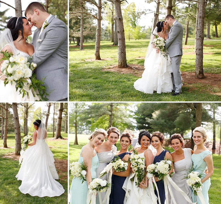 sunny outdoor wedding party photos