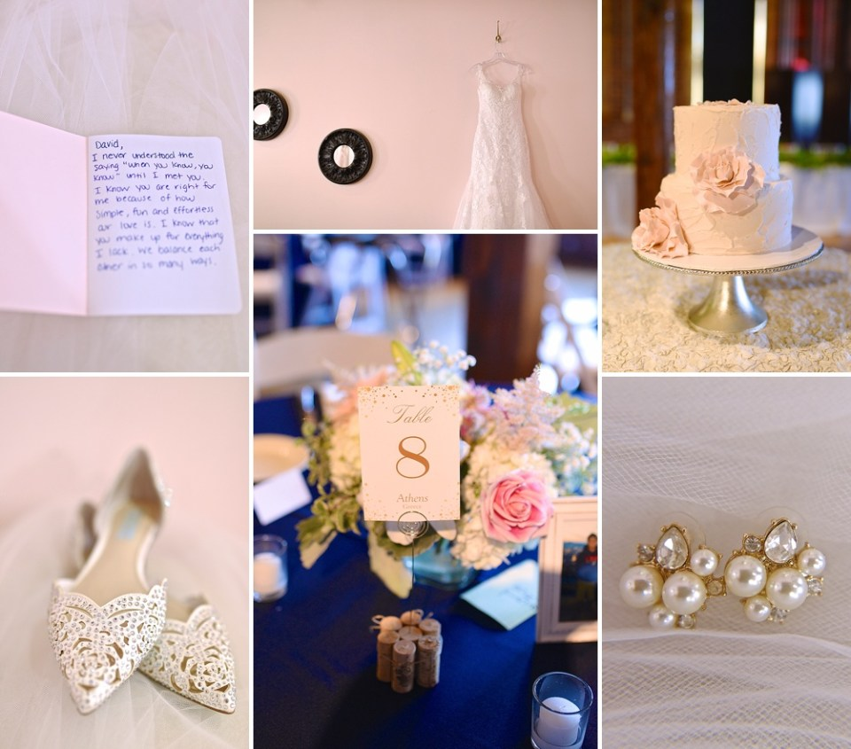 blush pink navy wedding details