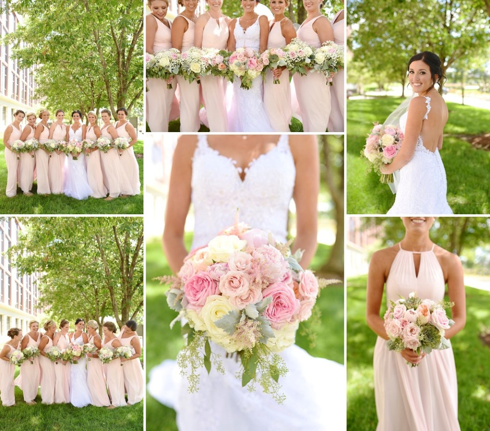 blush pink outdoor bridesmaid photos