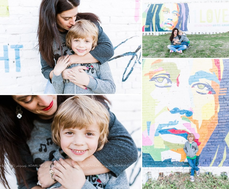 mother-son session at Bob Marley Mural