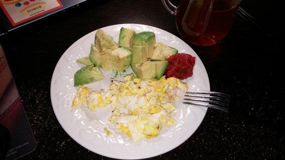 Scrambled eggs, avocado, and salsa. Avocado apparently does not sit well on my stomach first thing in the morning.