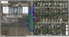 Green - noise pollution. Lighter blue - herbicide pollution. Dark blue - light pollution.