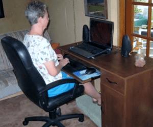 DiVoran at computer