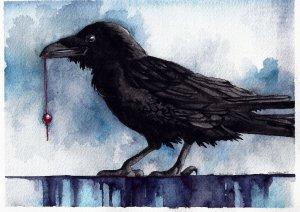 raven, painting, watercolor, artwork, Rebekah, Slusher, art, paint, drawing, crow, northwest art, blue, black, bead, red