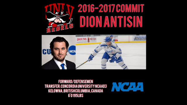Image result for photo of dion aNTISIN, unlv rebels hockey