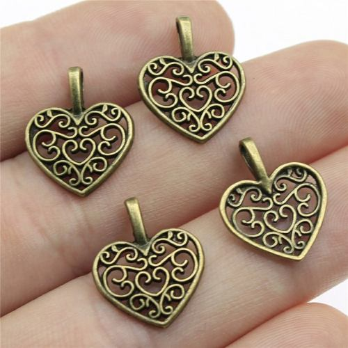 Pack of 50 Heart Charms. 14mm x 16mm. Bronze or Silver Available. Gorgeous Metal Pendants for Jewellery. Perfect for Valentine's Day, Mother's Day and Weddings. 0.75mm thick. Filigree design. Metal Alloy.