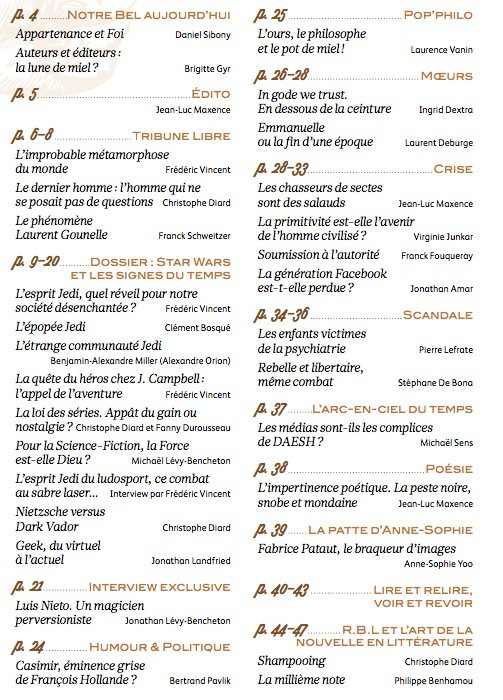 Le sommaire de Rebelles Magazine n°1