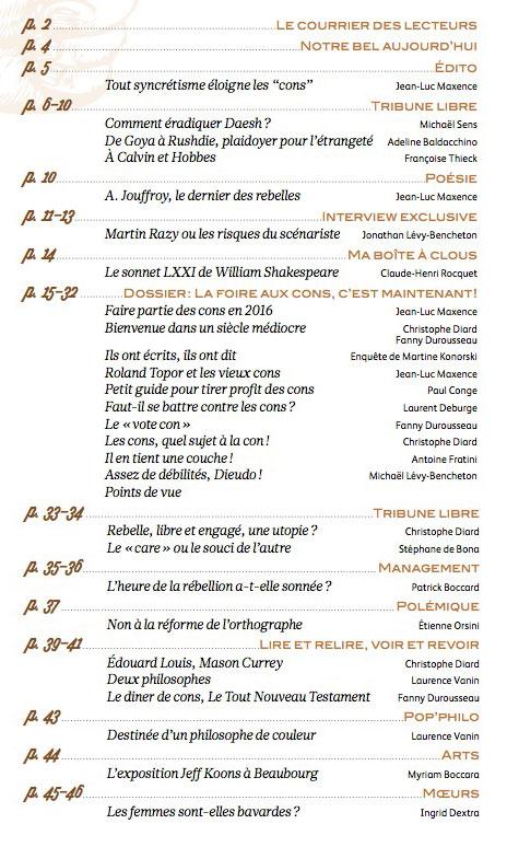 Sommaire de rebelles(s) Magazine n°3