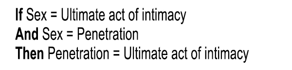 If sex = ultimate act of intimacy; And sex = penetration; Then penetration = ultimate act of intimacy